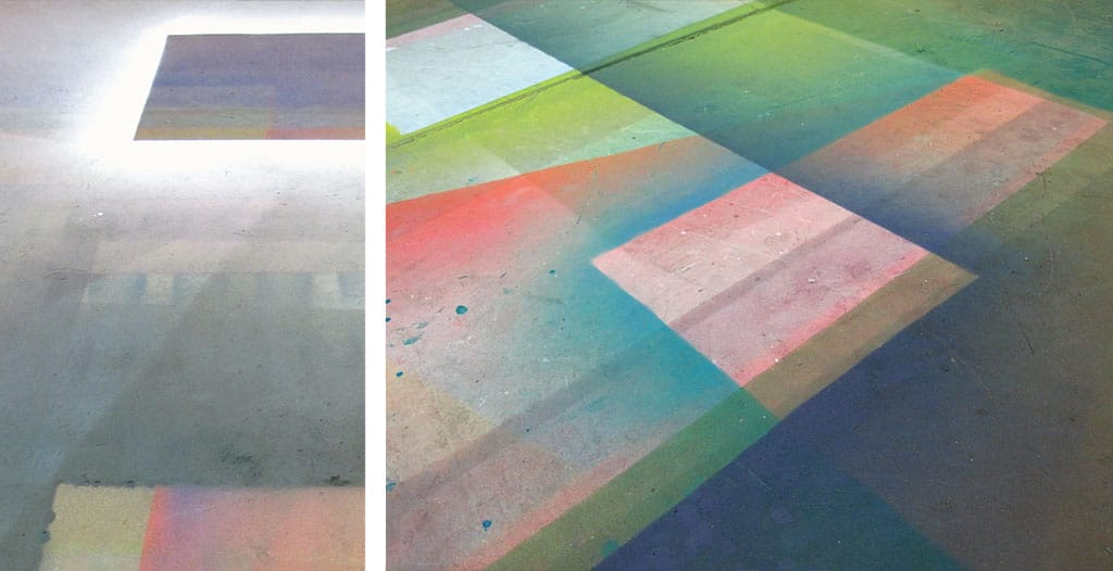 Tauba Auerbach's studio floor, New York. Photographs by the artist.
