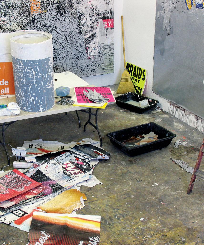 Mark Bradford's studio, Los Angeles. Photograph by Carlos Avendano.