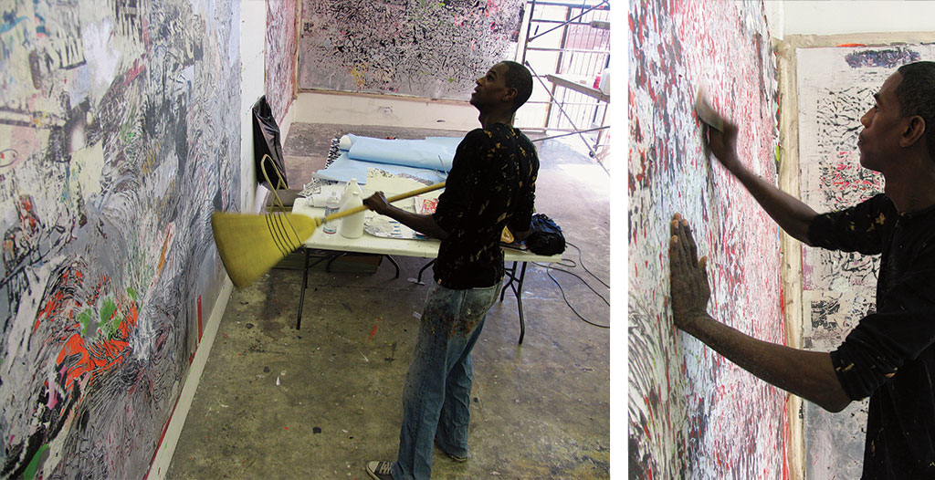 Mark Bradford's studio, Los Angeles. Photographs by Carlos Avendano.