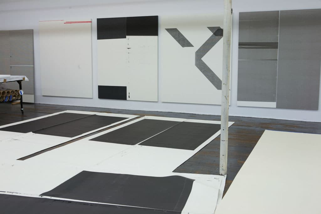 Wade Guyton's studio, New York. Photograph by Wade Guyton Studio