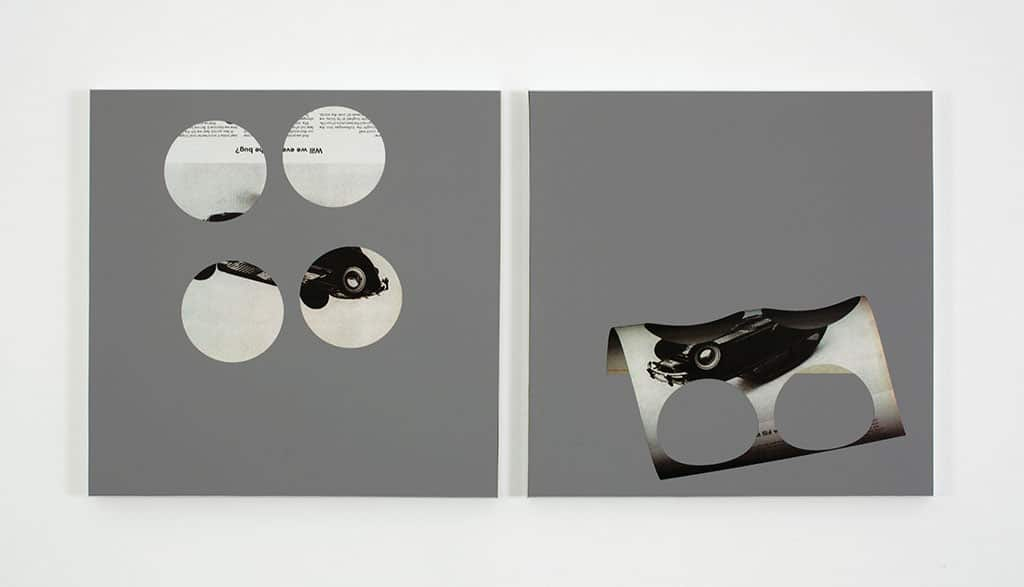 KELLEY WALKER, Untitled, 2011, Pantone 403U and four-color process silk screen with acrylic ink on MDF in anodized aluminum frame, Two panels, framed: 16 1/8 x 16 1/8 x 1 in. (41 x 41 x 2.5 cm), 16 1/8 x 16 1/8 x 7/8 in. (41 x 41 x 2.2 cm); overall dimensions variable, Private collection, Marseille