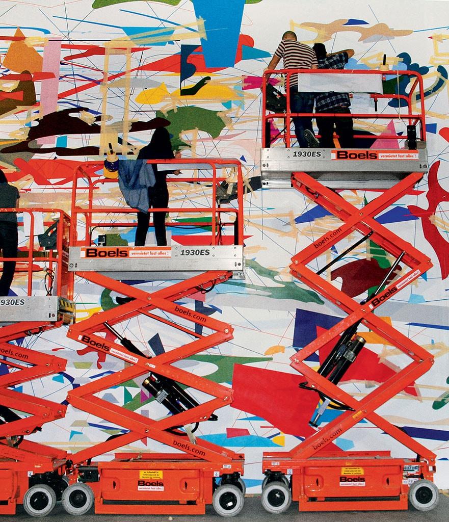 Mural, 2009, in process, Julie Mehretu's studio, Berlin.