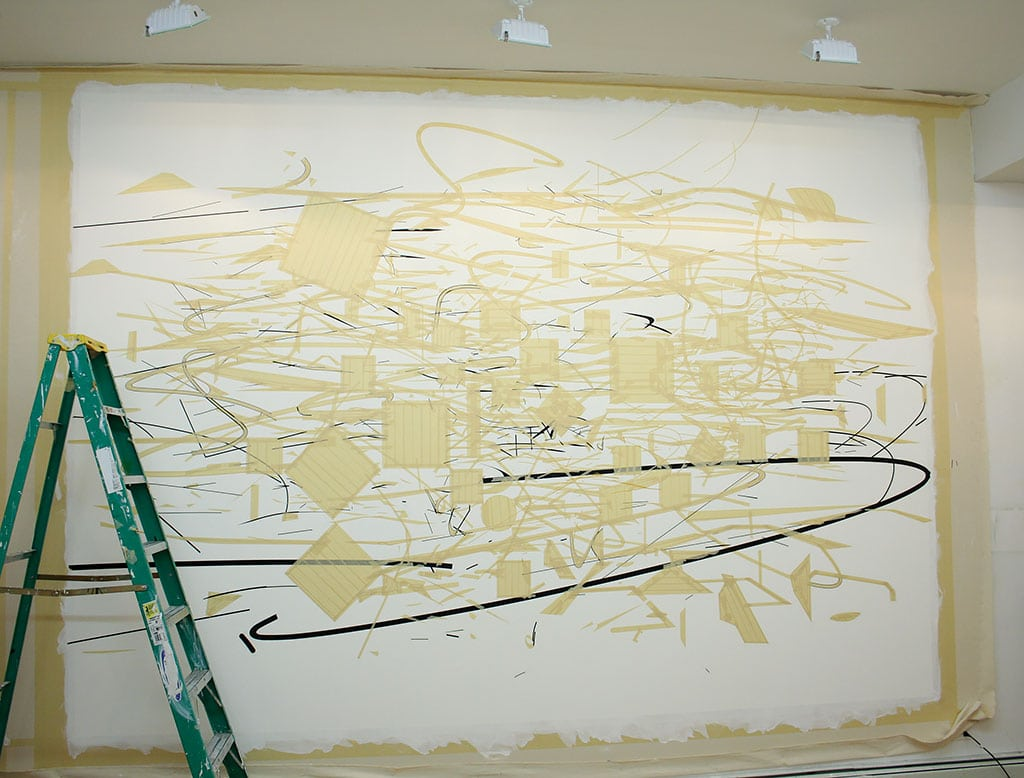 Julie Mehretu's Middle Grey, 2007–9, in process. Photograph by Sarah Rentz