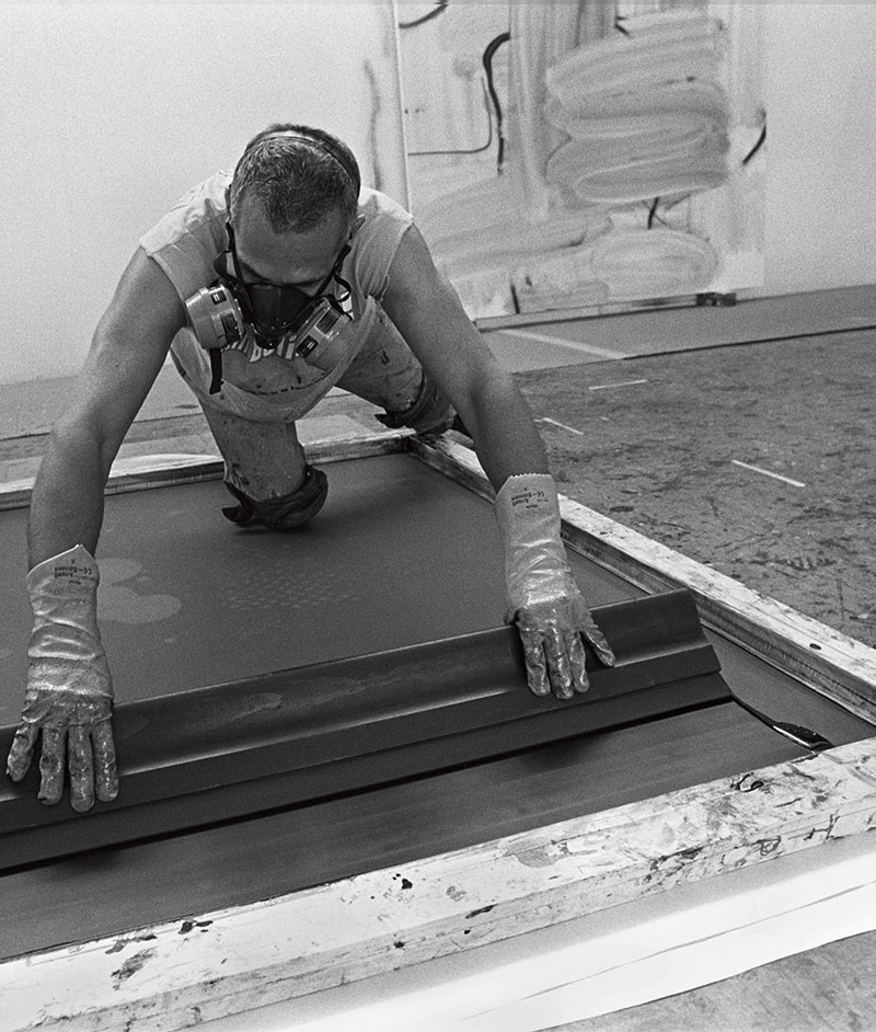 Christopher Wool at work in his East Village studio, New York. Photographs by Eugene Richards